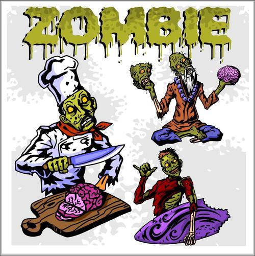 Cartoon zombie eating food vectors