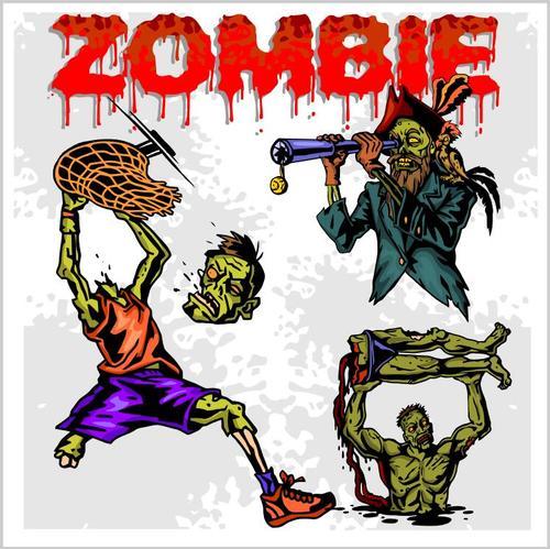 Cartoon zombie vectors 01