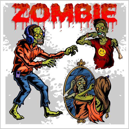Cartoon zombie wearing headphones vectors