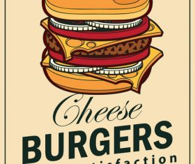 Cheese burgers flyer vector material