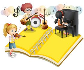Children performance Musical cartoon vectors