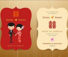 China style bride and groom wedding invitation card vector