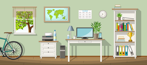 Classic living room bicycle and folder illustration on shelf vectors