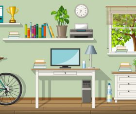 Classic living room computer table bicycle and bookshelf trophy vectors