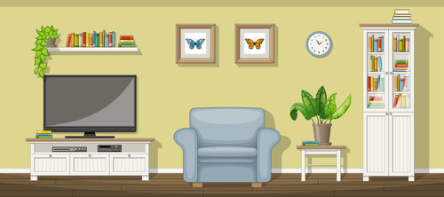 Classic living room furnishings vectors