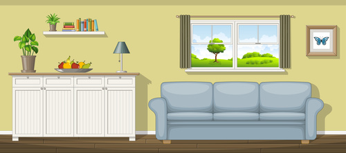 Classic living room sofa and fruit bowl on the table vectors