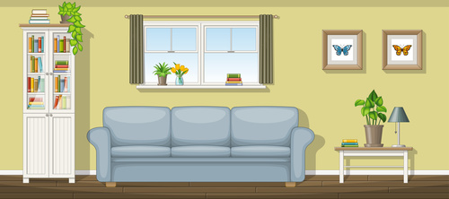 Classic living room sofa and green plants vectors