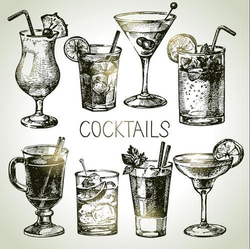 Cocktails Illustrations Blackboard Menu vectors