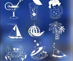 Cocktails Illustrations and Seafood vectors