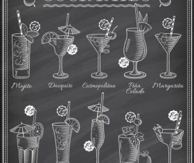 Cocktails blackboard menu cover vectors