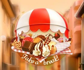 Coffee shop dessert cover vector