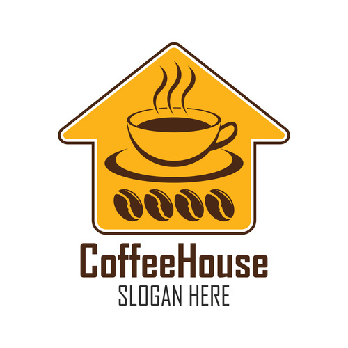 Coffee shop logo label vector