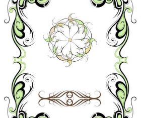 Color floral design frame vector