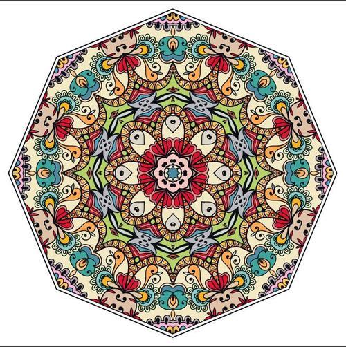 Colored mandala pattern ornament vector