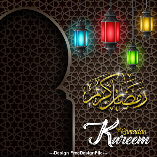 Colorful lamp Ramadan Kareem vector greeting card vector
