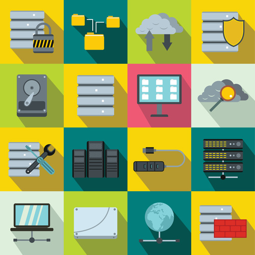 Computer and cloud icons flat style vector