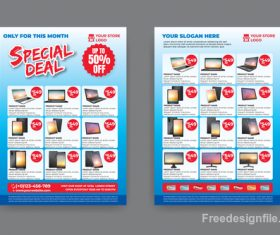 Computers and tablets discount flyer blue vector