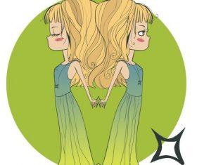 Constellation girl cartoon virgo vector