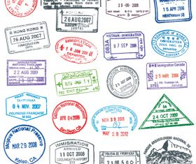 Countries access passport stamp vectors