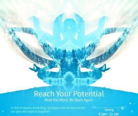 Creative yoga flyer psd template