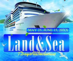Cruise ship with sea party flyer psd template