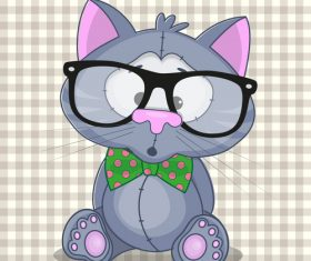 Cute Hipster cartoon cat vector