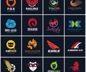 Cute cartoon Animal logo collection vector