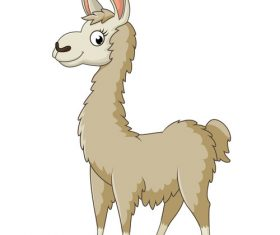 Cute cartoon alpaca vector