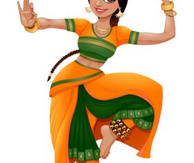 Dancing indian cartoon character vectors