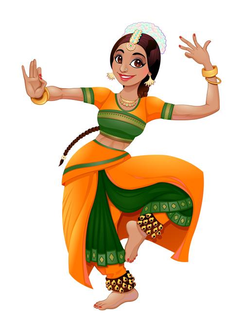 Dancing indian cartoon character vectors free download