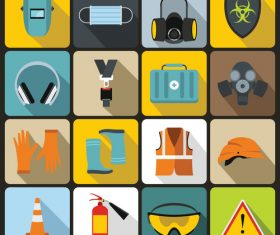 Danger protection icons flat style vector