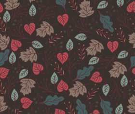 Dark Flowers and Leaves background pattern vector