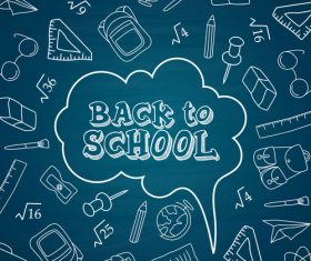 Dark blue cartoon dialog back to school vector
