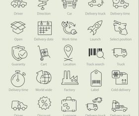 Delivery linear icons vector