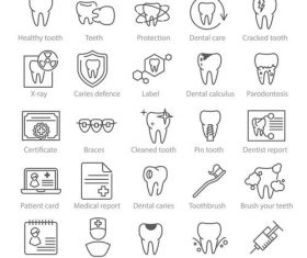 Dental medicine linear icons vector