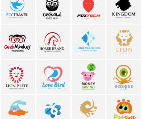 Different Animal logo collection vector