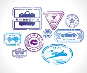 Different life style stamps vectors