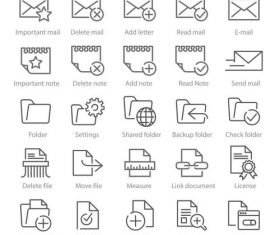 Documents and mail linear icons vector