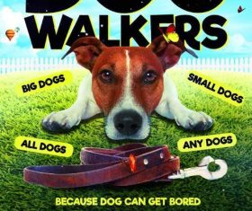 Dog walkers flyer psd template