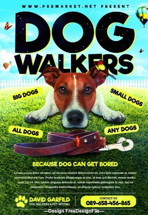 Dog Walking Flyer Template Free from freedesignfile.com