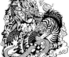 Dragon and tiger fight black white silhouette vector