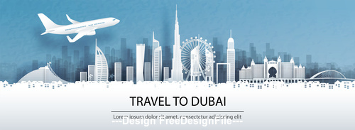 Dubai city landscape and travel paper design