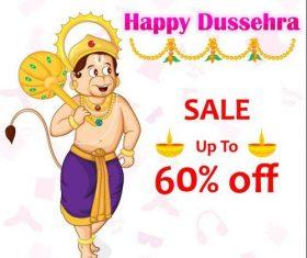 Dussehra merchandise discount cover vectors