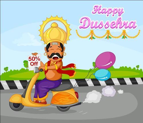 Dussehra sales discount vectors