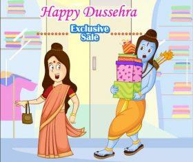 Dussehra shopping cartoon vectors