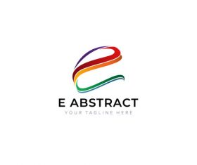 E Abstract logo creative design vector