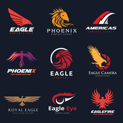 Eagle logo collection vector