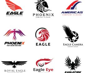 Eagle silhouette logo collection vector