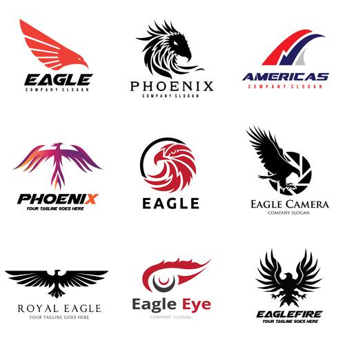 Eagle silhouette logo collection vector
