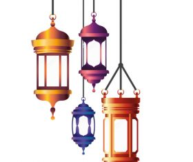 Eid Mubarak festival decorative lamp vector design 01